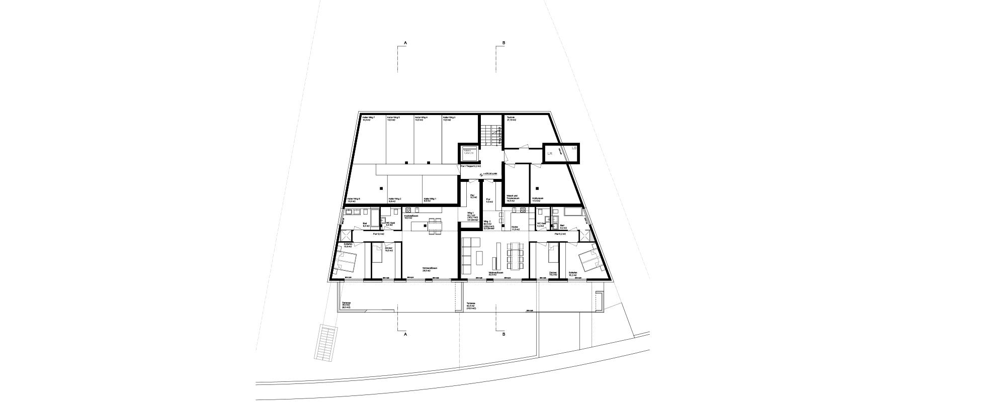 Referenz PlanQuadrat | Grundschnitt des exklusiven Mehrfamilienhauses in Im Haldenau, Stuttgart