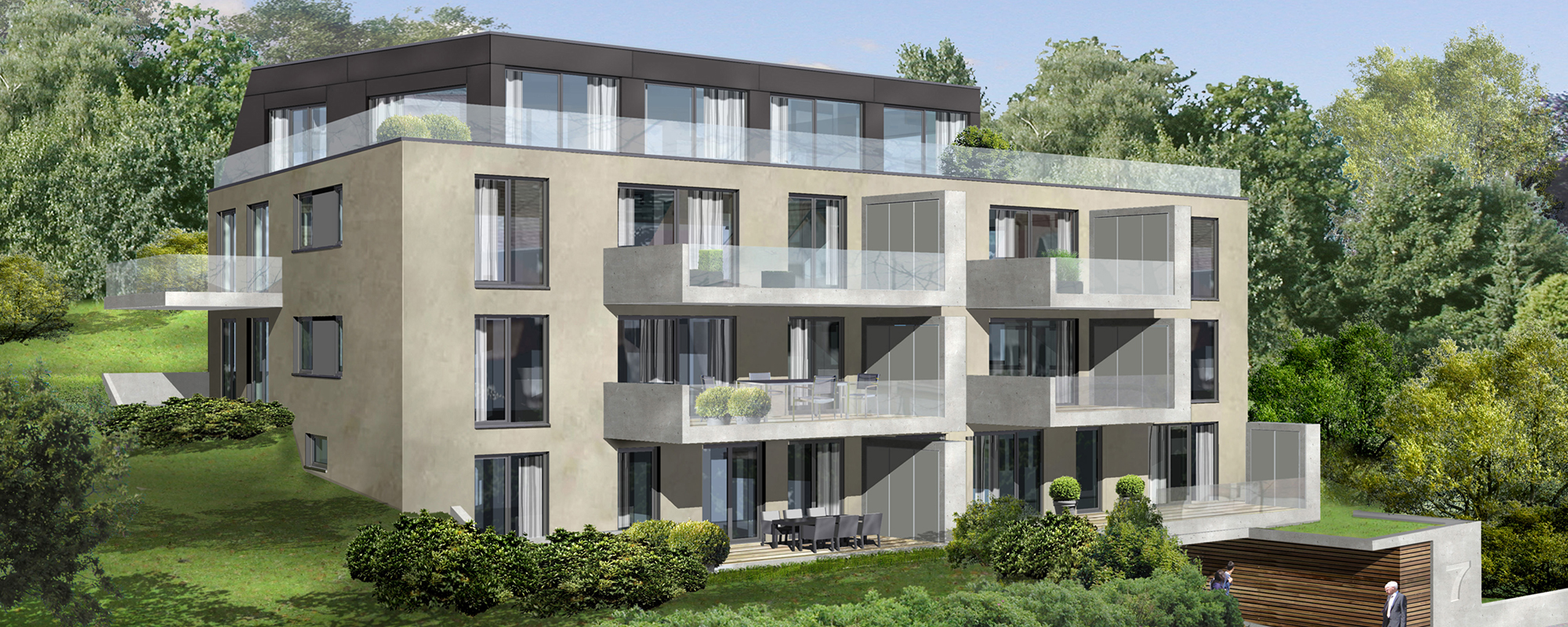 Referenz PlanQuadrat | Ansicht des exklusiven Mehrfamilienhauses in Im Haldenau, Stuttgart