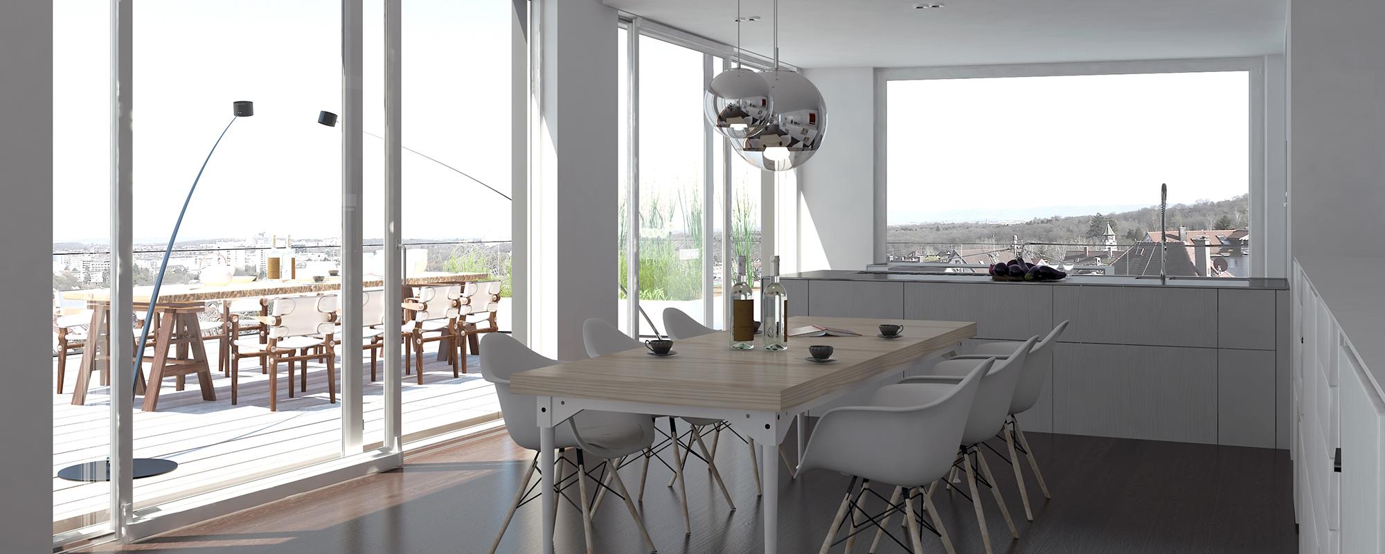 Referenz PlanQuadrat | Wohnbereich des exklusiven Mehrfamilienhauses in Im Haldenau, Stuttgart