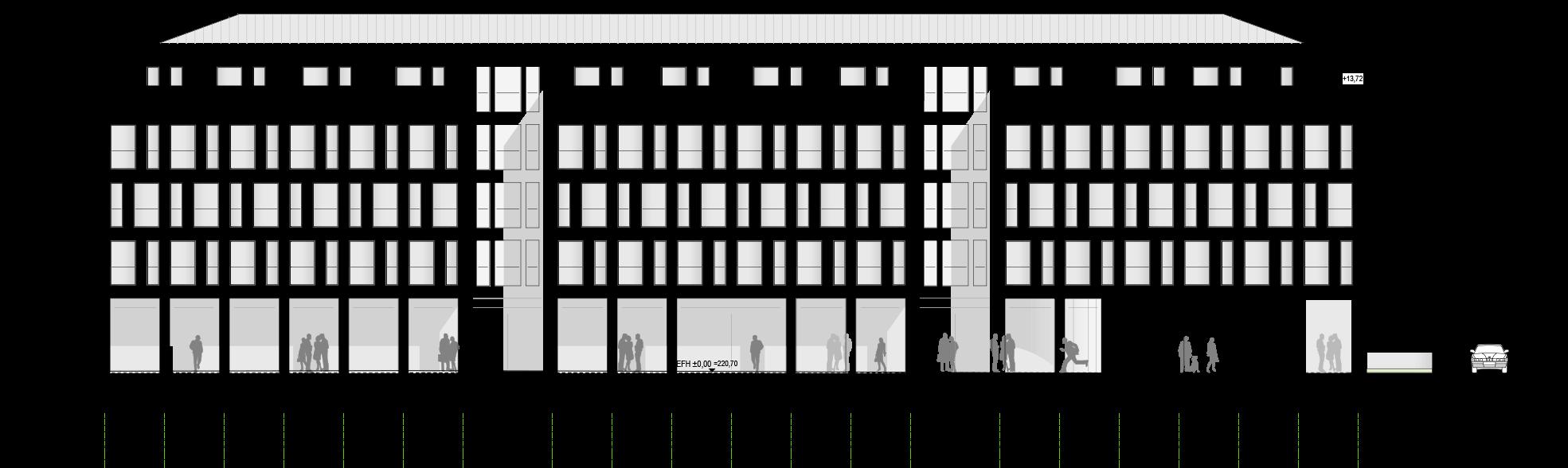 Referenz PlanQuadrat | Süd-Ansicht des Motel One in Badstraße, Stuttgart